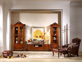 精美家 进口桃花芯实木 高档实木美式古典风格厅柜 两门酒柜