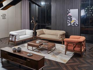 非色 意式轻奢风格 北美进口白蜡木系列 坐垫及背靠可拆 亲肤舒适透气 沙发组合(1+2+3)