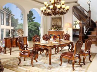 精美家 进口桃花芯木 天然雨林啡大理石 易清洁 奢华美式风格 实木餐桌长餐桌 餐厅1.6米餐台