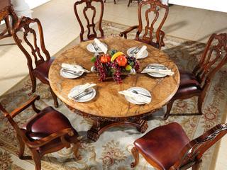 精美家 进口桃花芯木 天然雨林啡大理石 加厚实木雕花 结实结构 美式风格 实木餐桌 1.5米圆餐桌 餐厅餐台