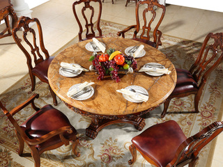 进口桃花芯木 天然雨林啡大理石 加厚实木雕花 结实结构 美式风格 实木餐桌 圆餐桌 餐厅餐台