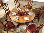精美家 进口桃花芯木 天然雨林啡大理石 加厚实木雕花 结实结构 美式风格 实木餐桌 圆餐桌 餐厅餐台