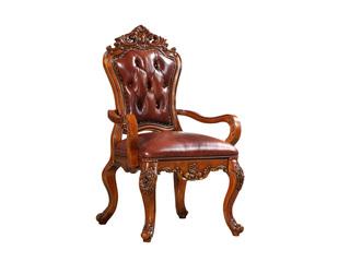 精美家 进口桃花芯木 头层皮 美式风格 实木餐椅 真皮会客椅 咖啡椅 有扶手椅