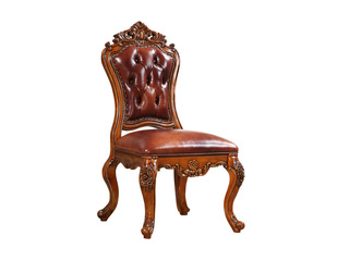 精美家 进口桃花芯木 头层皮 式风格 实木餐椅 真皮会客椅 咖啡椅 无扶手椅