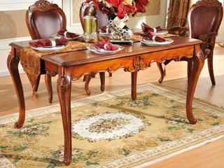 进口桃花芯实木 高档实木雕花长餐桌 美式古典风格 1.6米长餐桌