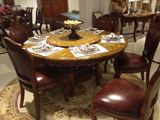进口桃花芯实木 高档实木圆形餐桌 美式古典风格 1.5米圆餐桌(含转盘)