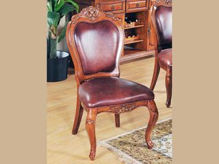 精美家 进口桃花芯木实木 头层牛皮 高档实木真皮餐椅 美式古典风格 无扶手椅