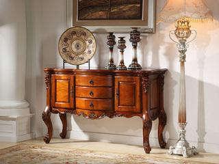 精美家 进口桃花芯木 美式风格 手工雕花餐边柜酒柜