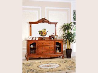 进口桃花芯木 餐边桌 美式风格 高档实木餐边柜餐边镜组合