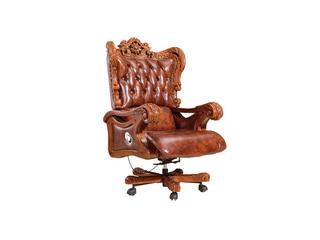 精美家 进口桃花芯木 头层牛皮书椅 高档实木 美式古典风格 实木