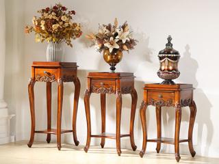 精美家 进口桃花芯实木 高档实木组合花架 带抽屉 美式古典风格 低花架