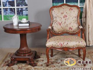 精美家 进口桃花芯实木  高档实木布艺休闲椅 美式古典风格