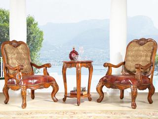 精美家   进口桃花芯实木 美式风格 实木皮布休闲椅 美式古典风格