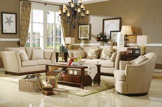 精美家  进口桦木  美式风格 实木布艺沙发 中小户型客厅沙发组合 1+2+3人位组合