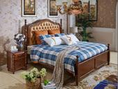 精美家 进口桦木 头层牛皮床头 双人公主床 美式乡村床 1.8米浅樱桃色
