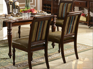 进口桦木实木油蜡皮 实木皮布艺餐椅 美式乡村风格 无扶手椅