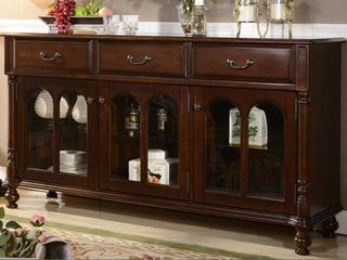 进口美楸 美式实木备餐柜 矮酒柜 矮碗碟柜