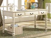精美 进口北美楸木 美式实木家具  仿古白书桌