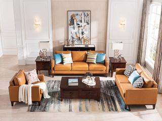 精美家 头层精致牛皮 美式风格 深胡桃色 皮艺沙发组合(1+2+3)