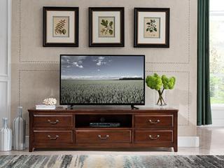 精美家 进口美国楸木 实木高档电视柜 美式风格 电视柜