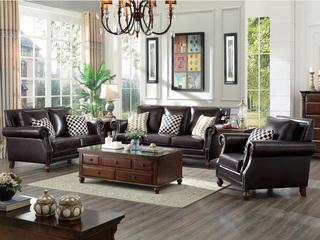 精美家 优质头层精致黄牛皮 美式风格 深樱桃色 沙发组合(1+2+3)