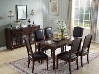 精美家 进口美楸 经典仿古做旧工艺 零甲醛大宝漆 美式风格1.6米餐桌