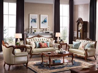精美家 浅樱桃色优质桃花芯木 美式风格 沙发组合1+2+3