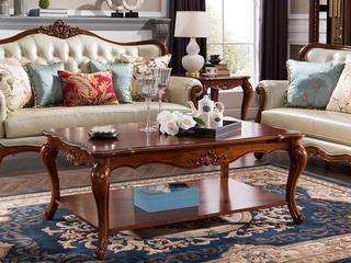 精美家 进口桃花芯实木 高档实木雕花长茶几 美式古典风格 1.37米木面茶几