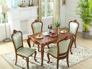 精美家 进口桃花芯实木 高档实木雕花长餐桌 美式古典风格 1.6米长餐桌