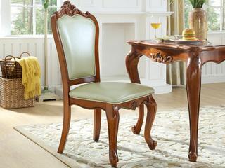精美家 进口桃花芯木 头层黄牛皮 头层牛皮 高档实木真皮餐椅 美式古典风格 无扶手椅