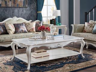 精美家 进口桃花芯木 法式简约长茶几 小户型客厅木质沙发茶桌 小法式田园茶几 香槟白描银