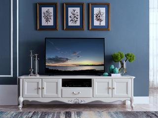 精美家 香槟白描银桃花芯木 法式风格电视柜