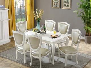 精美家 进口桃花芯木 法式餐实木餐桌 法式6人长方形桌子 实木描银餐台 香槟白描银
