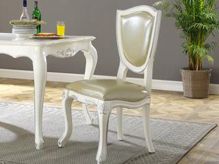 进口桃花芯木 头层黄牛皮 头层牛皮 高档实木真皮餐椅 法式风格 无扶手椅