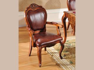 精美家 进口桃花芯木实木 头层牛皮 高档实木真皮餐椅 美式古典风格 有扶手椅