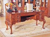 精美家 进口桃花芯木 美式风格 奢华大气书桌 实木长书桌 天然实木纹理 结构坚固