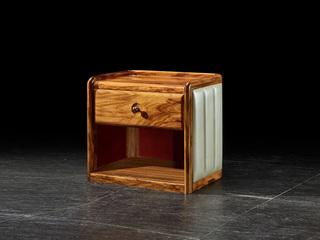 金华庭 简乌金系列 乌金木(面板、柜体、底座框架、脚)+松木(抽盒)+铜制拉手床头柜