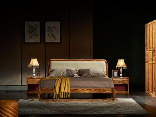 金华庭 简乌金系列 进口优质乌金木 结构坚固 北欧风格 1.8米大床