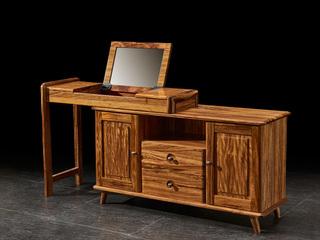 金华庭 简乌金系列 乌金木(面板、柜体、抽屉面板、柜脚、镜框)+铜制拉手+玻璃(镜面)妆台
