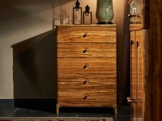 金华庭 简乌金系列 乌金木(面板,侧板、背板、抽面、底框、脚)+柜桶松木(抽屉)+铜制拉手五斗柜