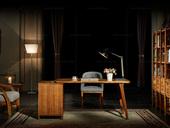 金华庭 简乌金系列 乌金木(面板,侧板、背板、抽面、底框、脚)+柜桶松木(抽屉)+铜制拉手书台
