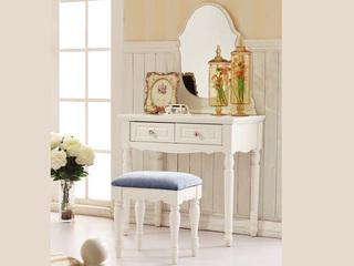 东方茉莉 橡胶木(整体框架、四条桌腿)+玻璃(镜子)象牙白妆台