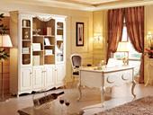 芭黎玫瑰 橡胶木(框架,脚)+金属拉手荷花白书台