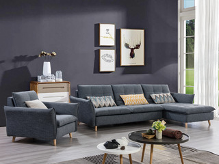 合盛佐罗 现代风格设计 亲肤棉麻布料 进口松木内架 转角沙发组合(2+左贵妃)