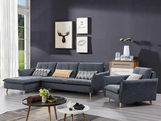 合盛佐罗 现代风格设计 亲肤棉麻布料 进口松木内架 转角沙发组合(2+右贵妃)