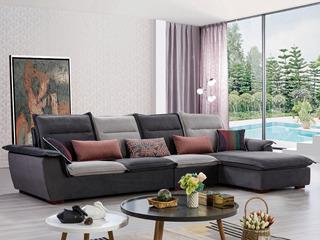合盛佐罗 可拆洗设计 亲肤棉麻布料 进口松木框架 现代风格转角沙发组合(1+2+左贵妃)