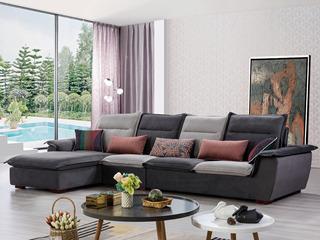 合盛佐罗 可拆洗设计 亲肤棉麻布料 进口松木框架 现代风格转角沙发组合(1+2+右贵妃)