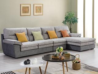 合盛佐罗 现代简约设计 亲肤棉麻布料 进口松木框架 布艺转角沙发组合(1+2+左贵妃)
