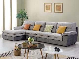 合盛佐罗 现代简约设计 亲肤棉麻布料 进口松木框架 布艺转角沙发组合(1+2+右贵妃)