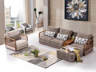 合盛佐罗 北欧风格设计 白蜡木框架 北欧沙发组合(左扶手双人位+储物柜+右扶手单人位+脚踏)